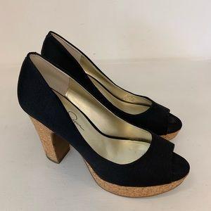 Jessica Simpson Black Peep Toe Cork Heels Size 8.5